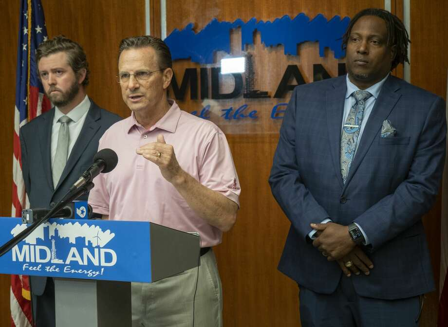 Midland Mayor Patrick Payton and councilmembers Jack Ladd and John Norman talk 05/20/2020 about the city's response to the viral video arrest of Tye Anders. The council plans to meet with city leaders and police and later host a community meeting to listen to citizens concerns. Tim Fischer/Reporter-Telegram Photo: Tim Fischer/Midland Reporter-Telegram