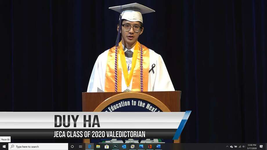 Judson Early College Academy's Class of 2020 valedictorian Duy Ha gives his speech during the school's Graduation Commencement Virtual Ceremony on May 15. He spoke of the camaraderie that JECA's graduates share that was absent from the virtual ceremony. Photo: Marvin Pfeiffer /Staff Photographer / **MANDATORY CREDIT FOR PHOTOG AND SAN ANTONIO EXPRESS-NEWS/NO SALES/MAGS OUT/TV