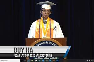 Judson Early College Academy's Class of 2020 valedictorian Duy Ha gives his speech during the school's Graduation Commencement Virtual Ceremony on May 15. He spoke of the camaraderie that JECA's graduates share that was absent from the virtual ceremony.