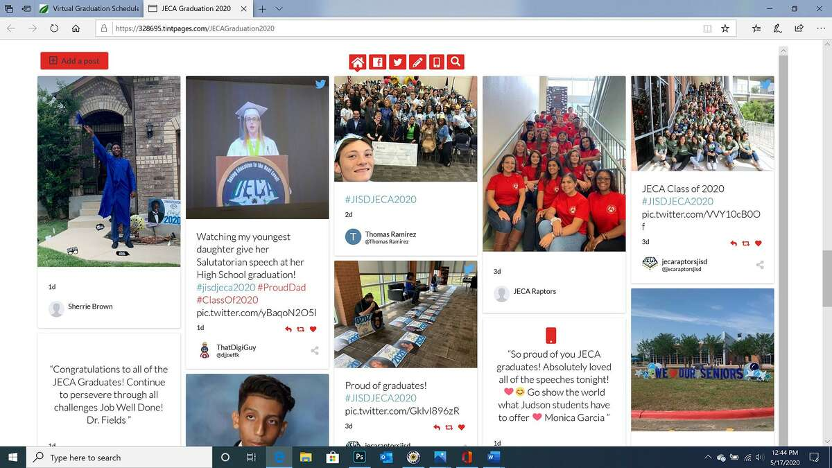Comments and photos posted online with the Judson Early College Academy Class of 2020's virtual graduation ceremony May 15. The district scheduled a physical event for each of its four high schools for next week but had to cancel them as coronavirus cases have surged.