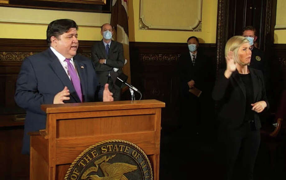 Gov. J.B. Pritzker explains the loosening of some restrictions in the upcoming Phase 3 of his Restore Illinois plan during a COVID-19 daily briefing Wednesday at the Capitol in Springfield. Photo: Blueroomstream.com