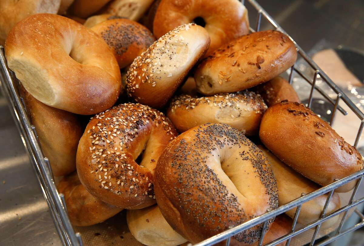 Bagels are fresh out of the oven at Boichik Bagels in Berkeley, Calif. on Wednesday, May 20, 2020. Business has remained strong at Boichik and other local bakeries during the coronavirus pandemic.