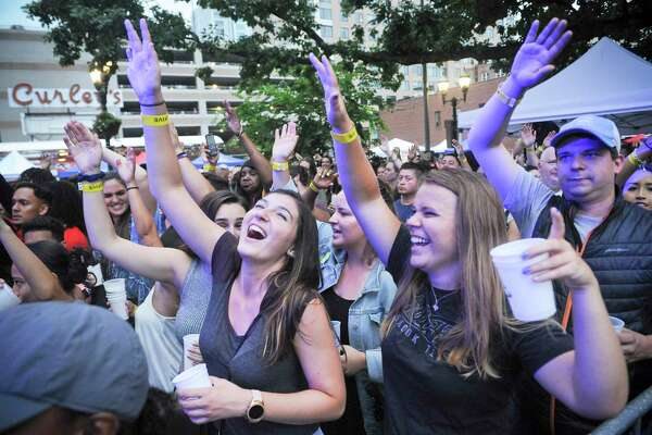 Music fans packed into Stamford's Columbus Park for the annual Alive@Five summer concert series in Stamford, Conn. on July 11, 2019.series.