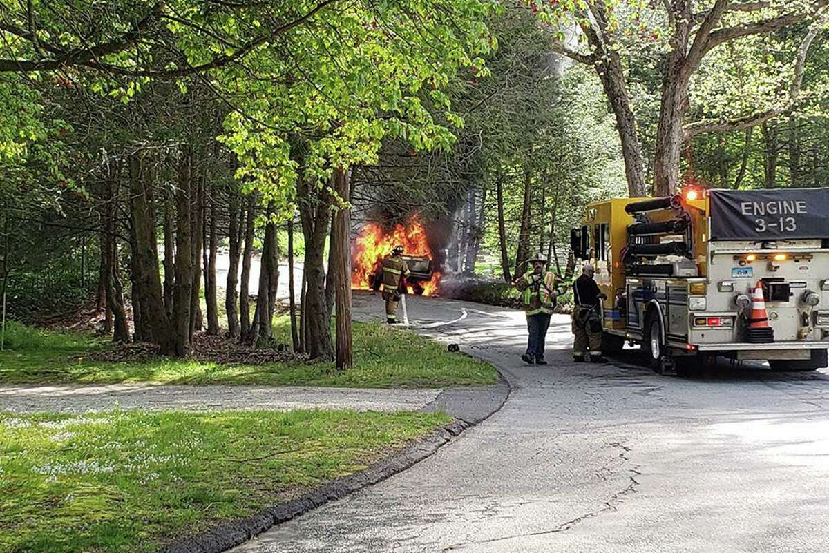 Units from the Haddam Volunteer Fire Company were first dispatched at 10:05 a.m. for a reported car that had crashed into a tree on Ponsett Road. Officials said the first arriving crews found a fully-involved vehicle fire.