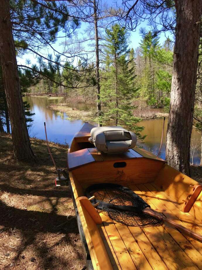 A photo shows a drift boat ready for floating along the Upper Manistee River. (Michigan DNR/Courtesy Photo)
