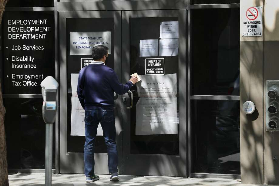 View of the Franklin St. entrance of the California Employment Development Department  seen on Tuesday, May 19, 2020, in San Francisco, Calif. Photo: Liz Hafalia / The Chronicle