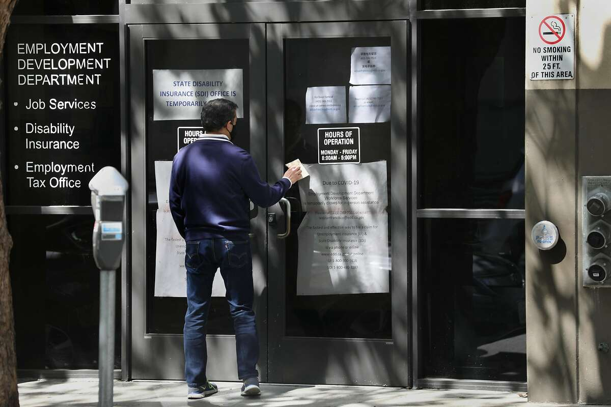 View of the Franklin St. entrance of the California Employment Development Department seen on Tuesday, May 19, 2020, in San Francisco, Calif.