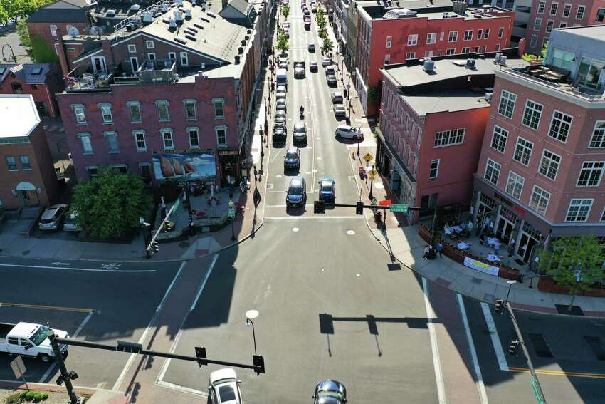 The view from above Washington Street in South Norwalk Wednesday evening as restaurants opened for outdoor dining.