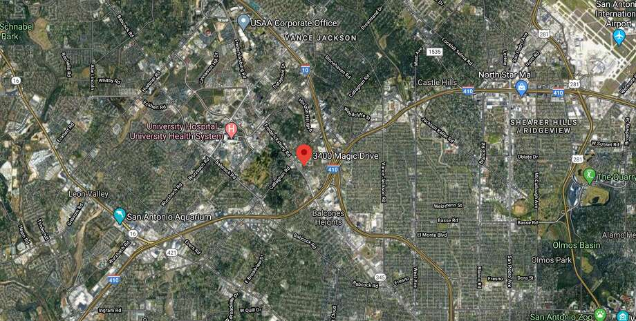 San Antonio police are investigating after a man mysteriously died while running around a parking lot naked near the 3400 block of Magic Drive. Photo: Google Maps