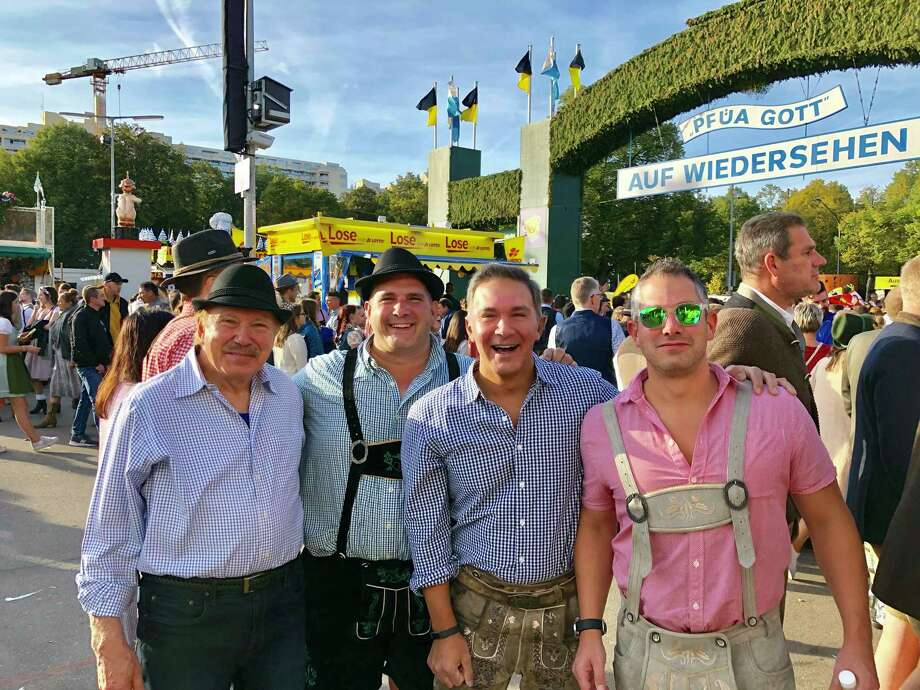 Henry, Jeff, Craig and Jason Woerz attend Oktoberfest in Germany. Henry has battled COVID-19 for nearly a month, coming off a ventilator after receiving a plasma donation. Photo: Woerz Family / Contributed Photo / Norwalk Hour Contributed