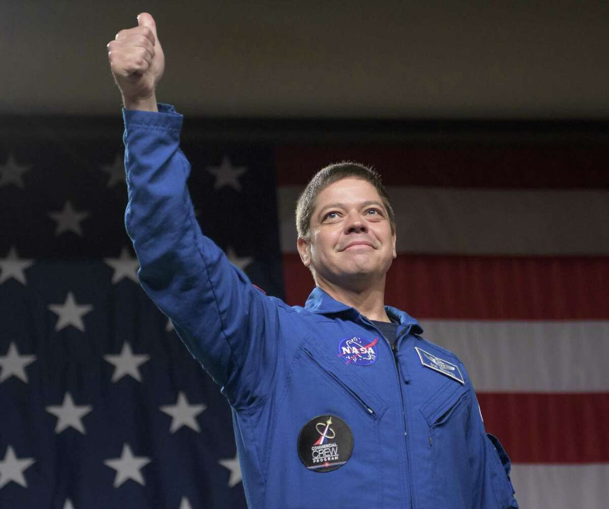 NASA astronaut Bob Behnken on Aug. 3, 2018, at NASA's Johnson Space Center where it was announced that he and NASA astronaut Doug Hurley are assigned to SpaceX's Crew Dragon Demo-2 flight to the International Space Station.