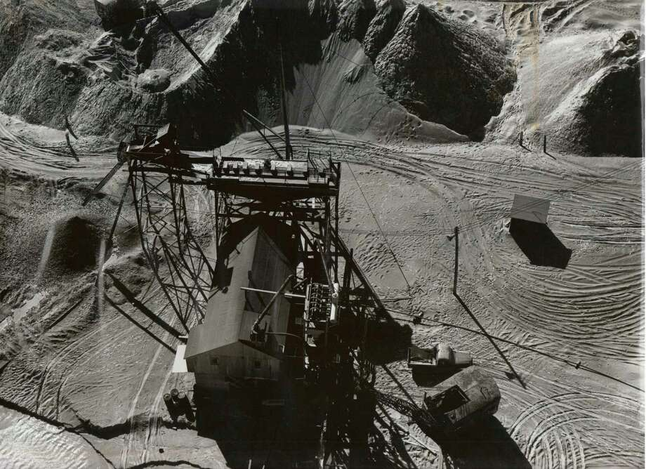 This view from above shows the Sand Products sand mining operation in the 1960s that created Manmade Lake in Manistee.