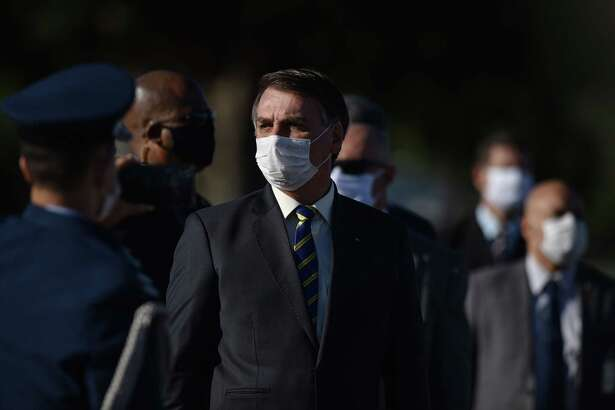 Jair Bolsonaro, Brazil's president, at Alvorada Palace in Brasilia on May 12, 2020.