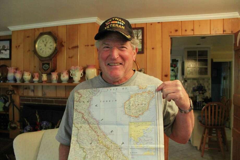 Allan Bixler, a Vietnam veteran, at his home in Darien. Photo: Humberto J. Rocha / Hearst Connecticut Media / Darien News