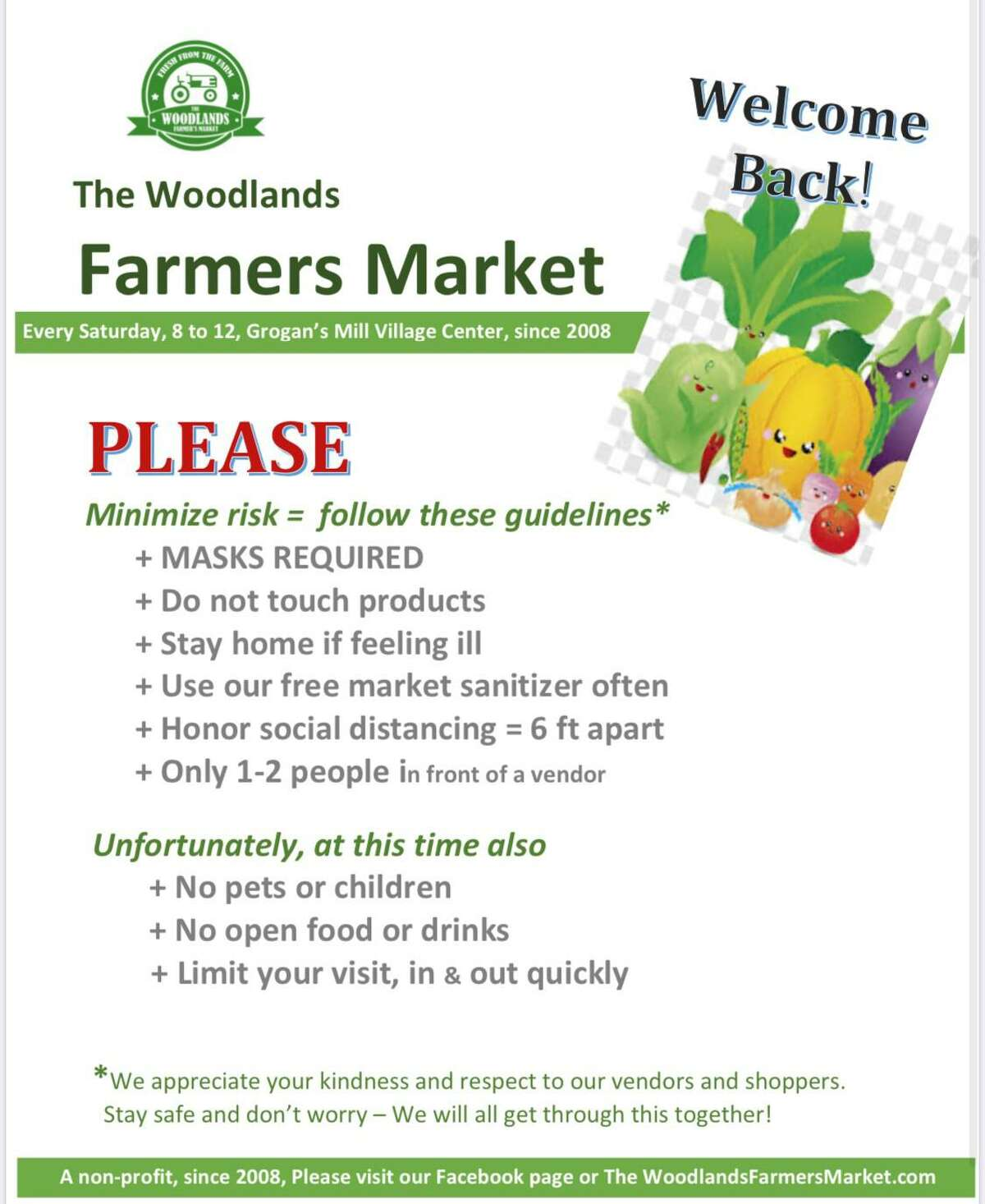New signs will greet customers at The Woodlands Farmers Market when it reopens on Saturday, May 23. Many new changes are in effect, including mandatory face masks and a ban on children and pets.