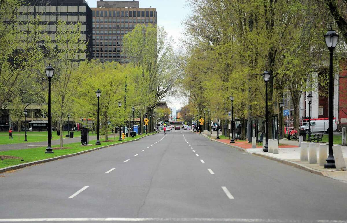 An empty Chapel Street in New Haven, Conn., on Apr. 23, 2020. Connecticut lost jobs in April.