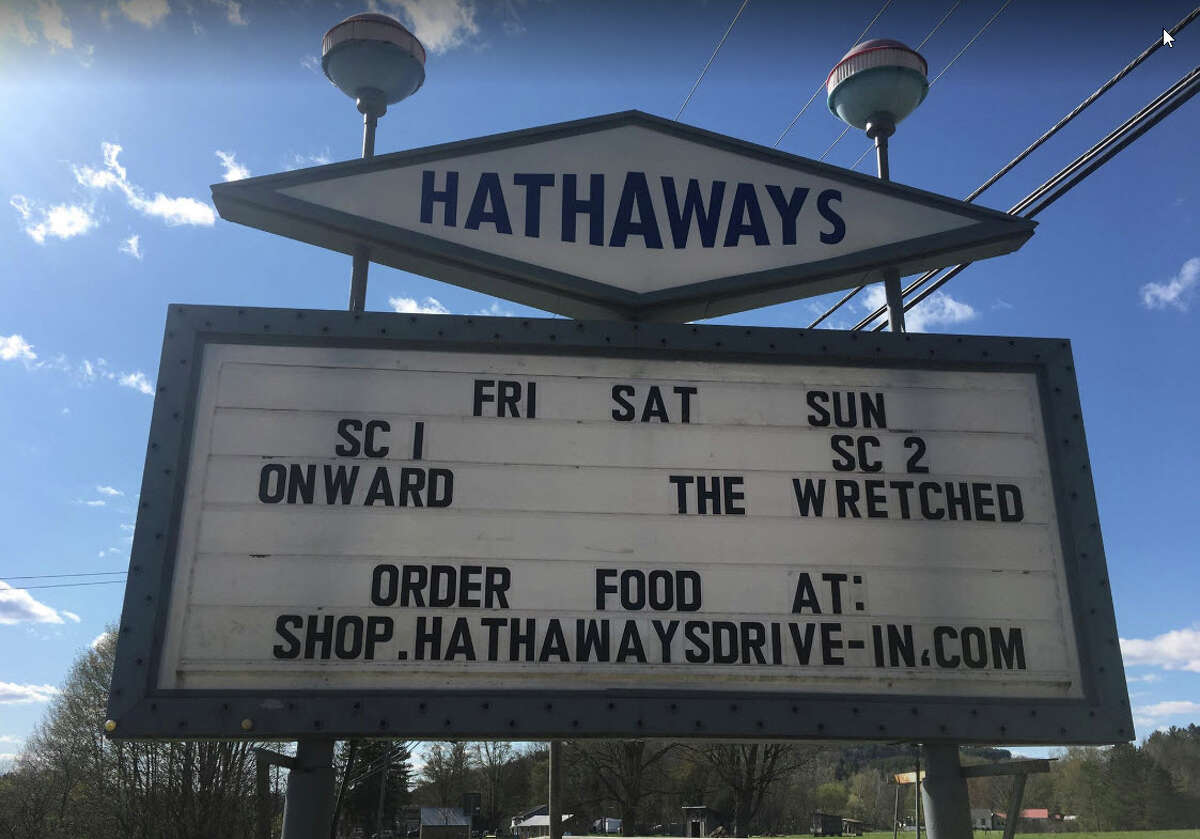 Hathaway's Drive-in Theatre in North Hoosick.  Screen #1: 8:45 p.m. - Monsters vs. Aliens (PG) 10:30 p.m. - E.T.: The Extra Terrestrial (PG) Screen #2: 8:55 p.m. - Swallow (R) 10:35 - Knives Out (PG-13)