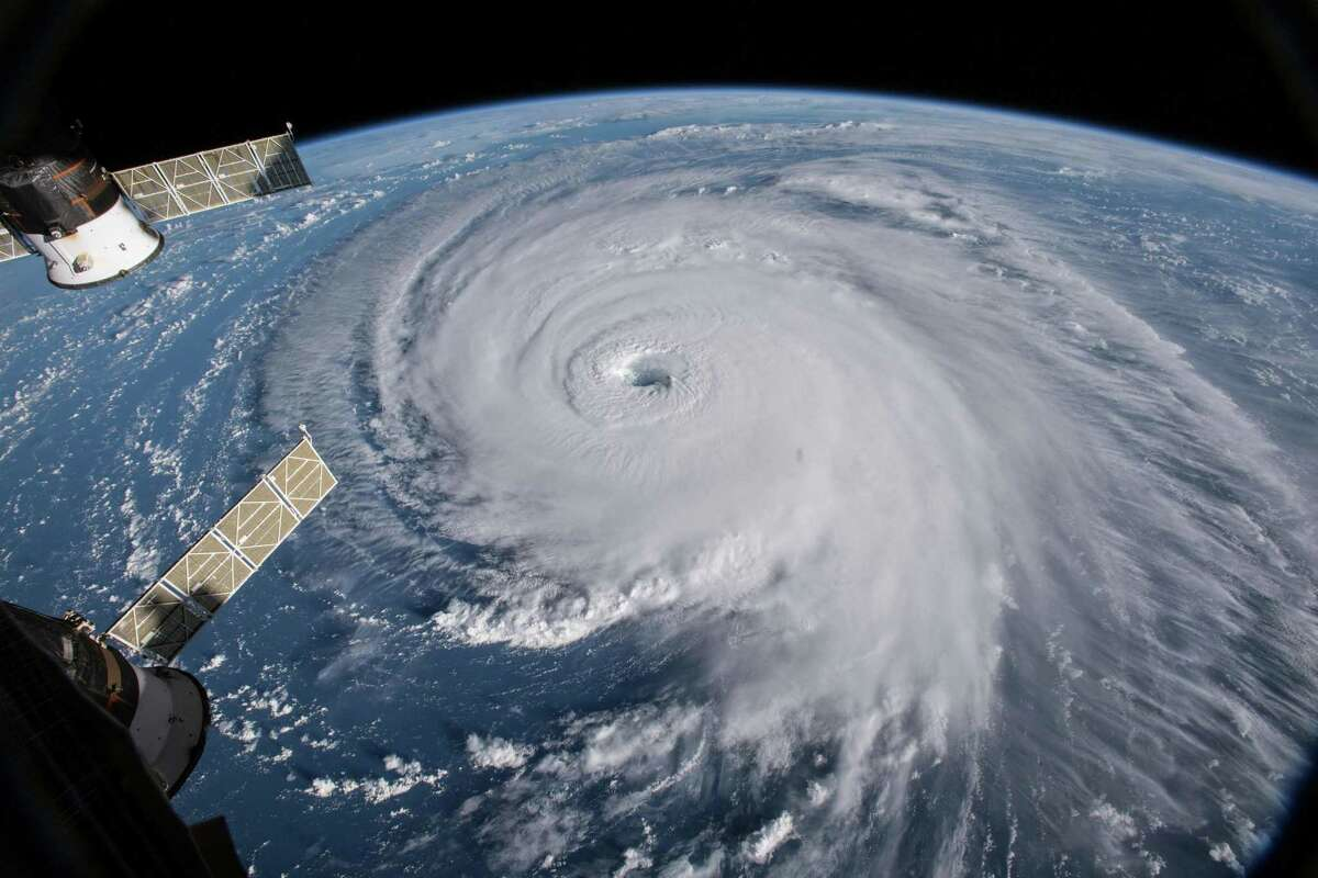 In an image provided by NASA, Hurricane Florence, seen from the International Space Station, in the Atlantic in September 2018. (NASA via The New York Times)