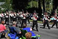 The Danbury Drum Corps performs in the annual Connecticut State Firefighters Association parade on Church Street in the Huntington section of Shelton, Conn. on Sunday, September 15, 2019.