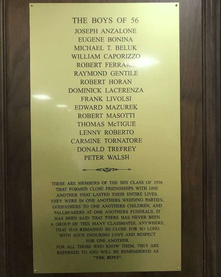 A plaque in the front lobby of Stamford High School. Photo: Contributed