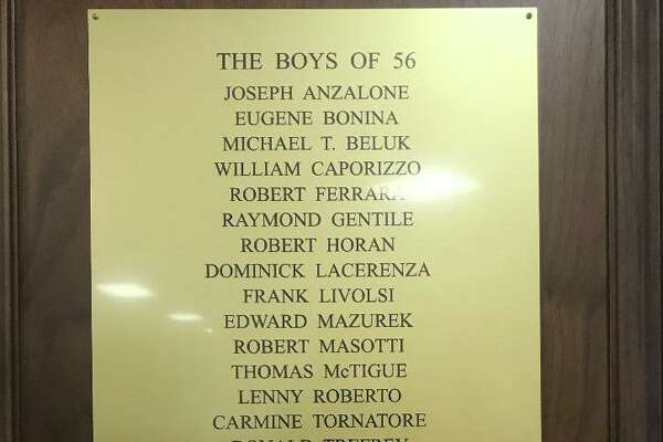 A plaque in the front lobby of Stamford High School.
