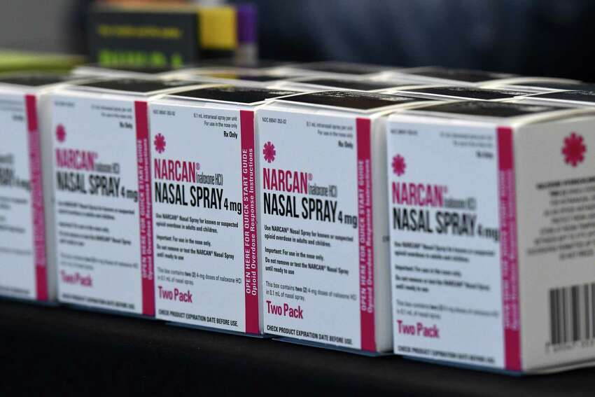 Boxes of Narcan are displayed during a Rensselaer County news briefing on the recent wave of overdoses that hit the Capital Region on Thursday, May, 21, 2020, at the Rensselaer County Office Building in Troy, N.Y. Thirty overdoses were reported around the Capital Region between Wednesday afternoon and Thursday morning from cocaine laced with fentanyl. (Will Waldron/Times Union)