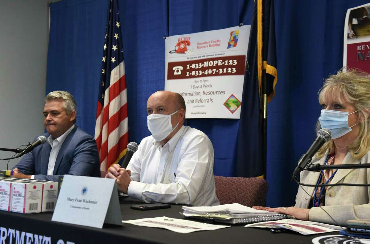 Rensselaer County Executive Steve McLaughlin, left, Troy Mayor Patrick Madden, center, and Rensselaer County Commissioner of Health, Mary Fran Wachunas, right, hold a joint news briefing on the recent wave of overdoses that hit the Capital Region on Thursday, May, 21, 2020, at the Rensselaer County Office Building in Troy, N.Y. Thirty overdoses were reported around the Capital Region between Wednesday afternoon and Thursday morning from cocaine laced with fentanyl. (Will Waldron/Times Union)