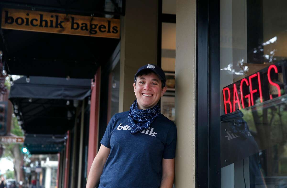 Emily Winston stands outside her Boichik Bagels bakery in Berkeley, Calif. on Wednesday, May 20, 2020. Business has remained strong at Boichik and other local bakeries during the coronavirus pandemic.