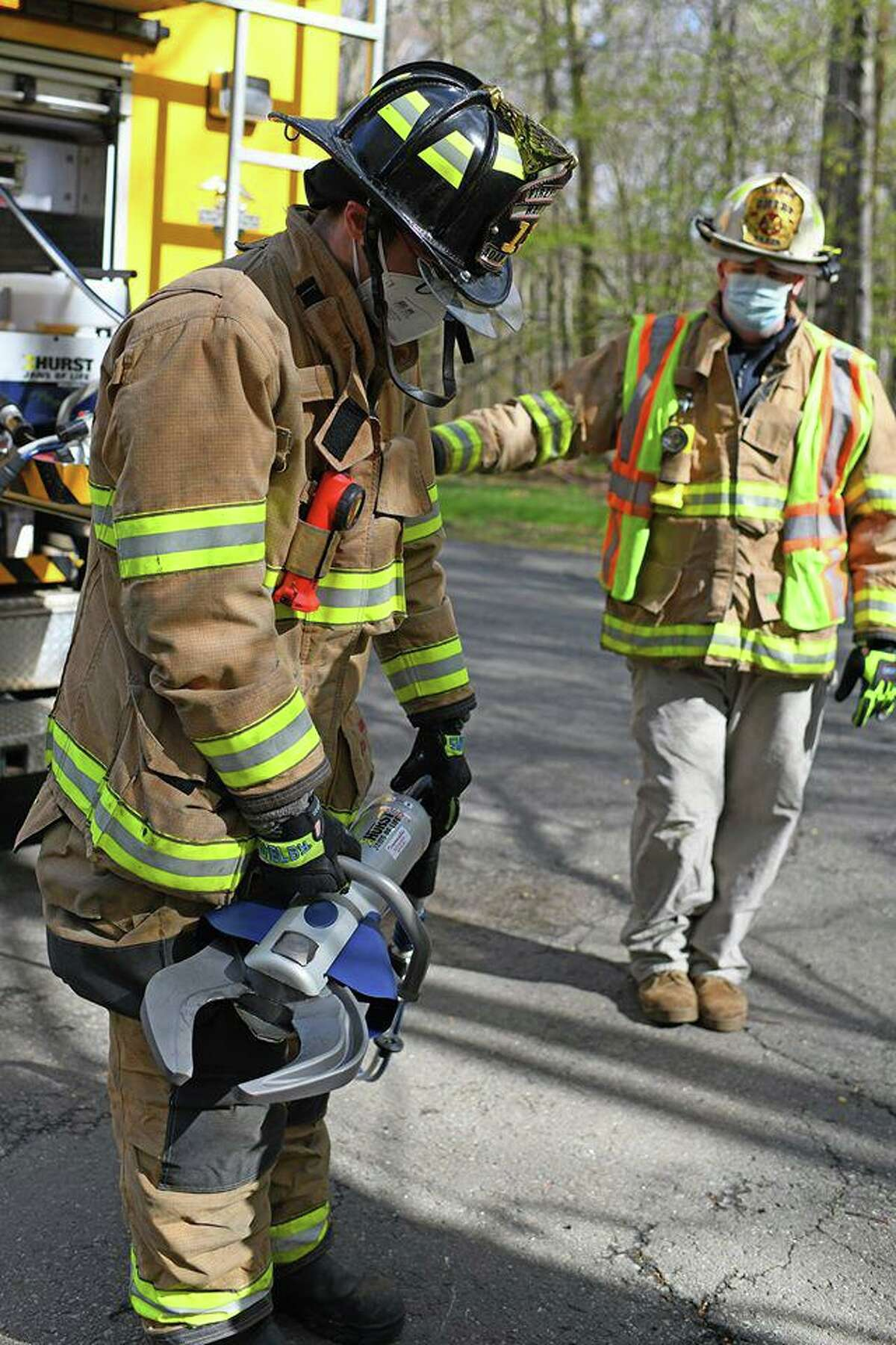 Here, Haddam Volunteer Fire Co. members are seen in action.
