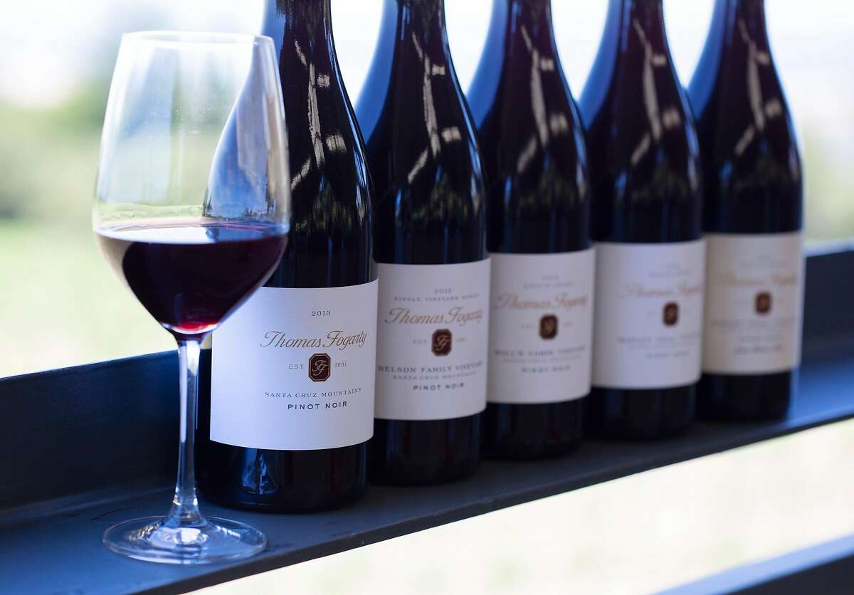 A flight of five pinot noirs is available in the tasting room at Thomas Fogarty Winery in Woodside, Calif. on Saturday, June 23, 2018.