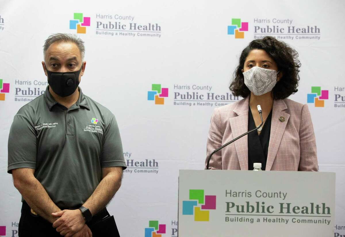 Harris County Judge Lina Hidalgo, right, and Harris County Public Health Department Executive Director and Dr. Umair Shah speak about the contact tracer army during a press conference Wednesday, May 13, 2020, in Houston.