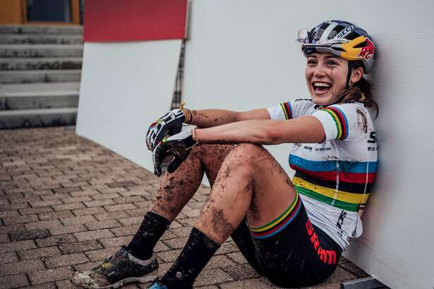 Mountain biker Kate Courtney after a race in Germany last year