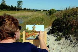 A artist recreates the view at Hammonassett Beach State Park in Madison.