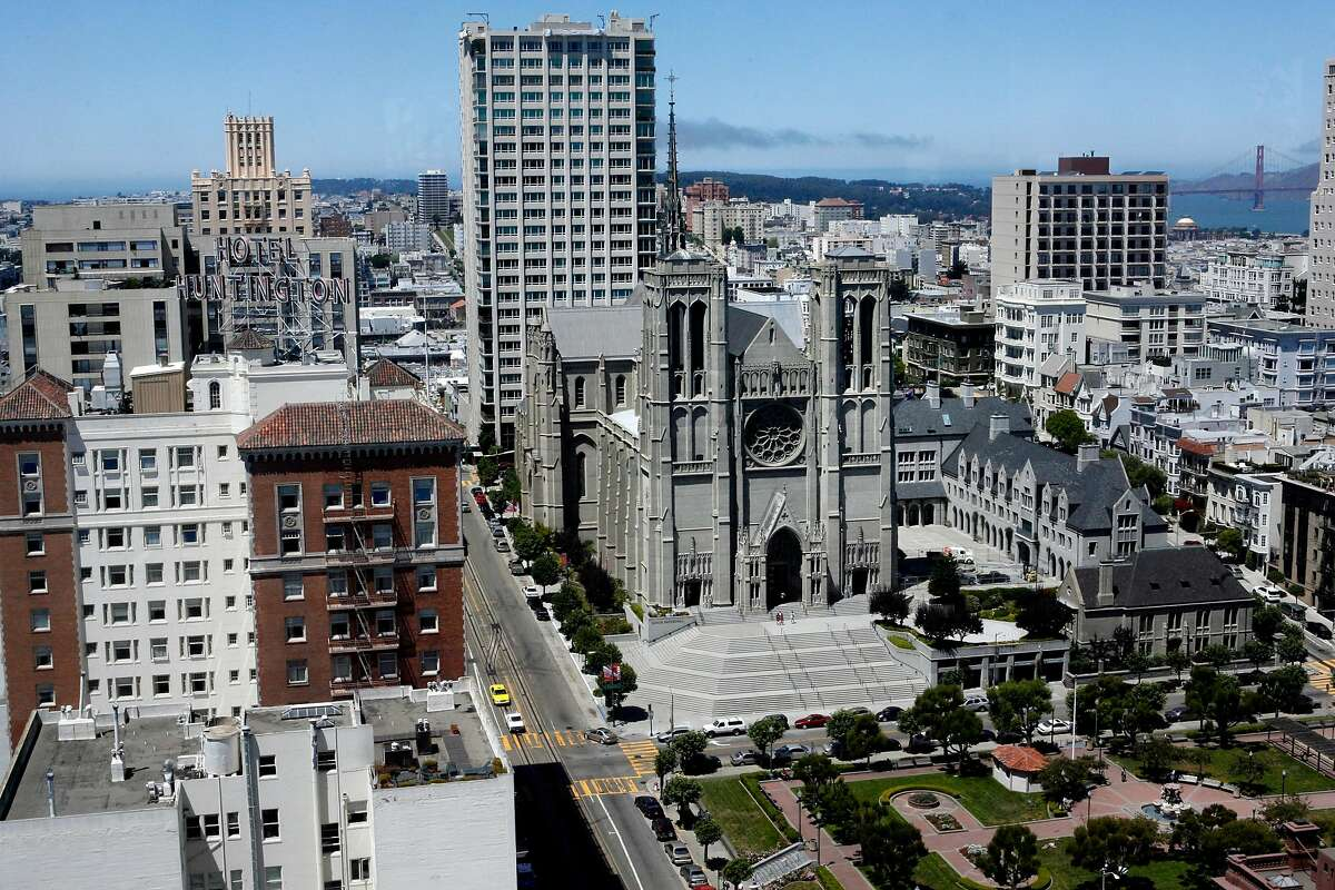 The view of Grace Cathedral from the Top of the Mark on Nob Hill in 2007.