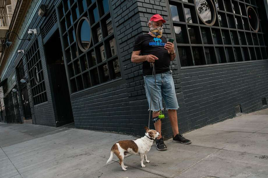 CJ Peoples checks his email while walking his dog, Mister, on the way to get groceries from Project Open Hand in San Francisco. Photo: Nick Otto / Special To The Chronicle