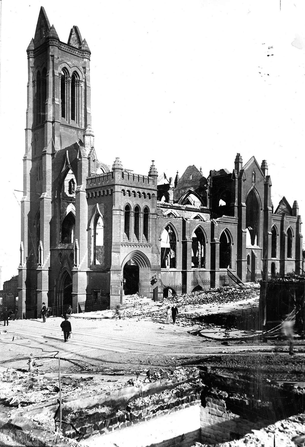 OurSF: 1906 Earthquake photo from the San Francisco Chronicle archive. Photographer unknown. Grace Cathedral at California and Stockton.