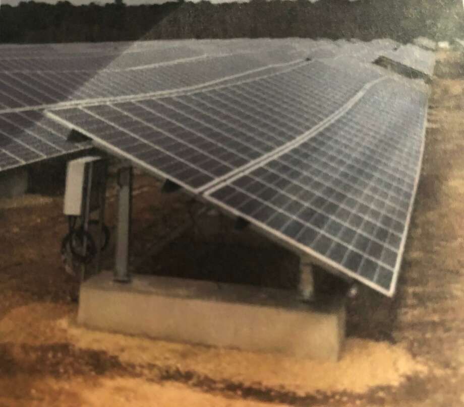This is an example of RBI solar ballast ground mount for a land fill in Brown Mills, N.J. This example was part of the application calling for a community solar garden off River Road. Photo: Contributed Photo / Connecticut Post