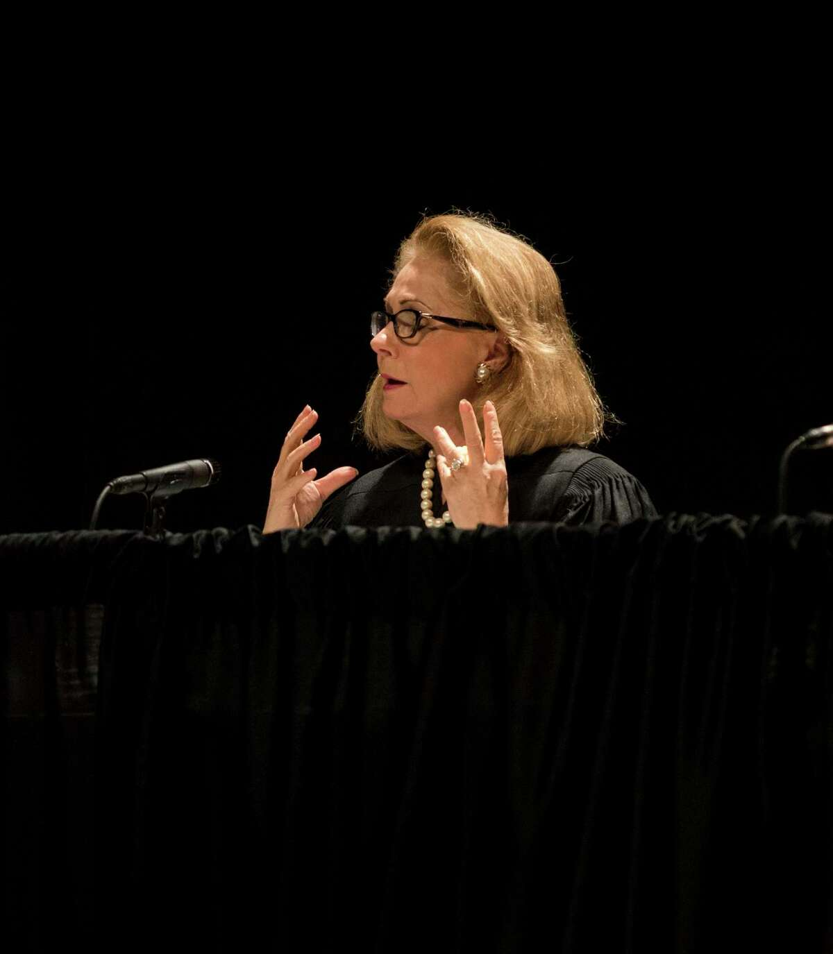 The Texas Supreme Court hears cases at the Wagner Noel Performing Arts Center on Wednesday. Justice zebra H. Lehrmann addresses Lisa Bowlin Hobbs a petitioner from the JBS Carriers Inc. and James Lundry v. Trinette L Washington et al. case 9/19/2018 Jacy Lewis/191 News