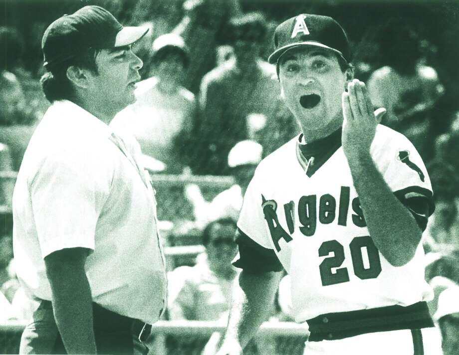 Midland Angels manager Joe Maddon argues with the umpire during a Texas League baseball game in the mid-1980s. Midland RockHounds photo.