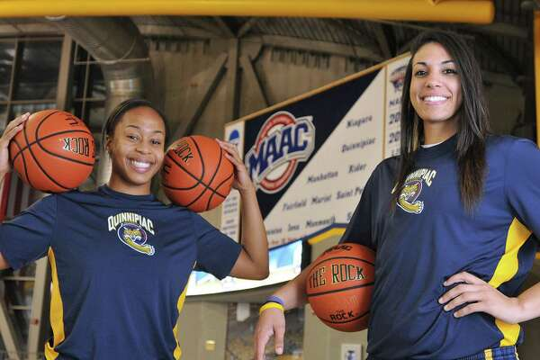 Quinnipiac women's basketball standouts Jasmine Martin, left, and Brittany McQuain.