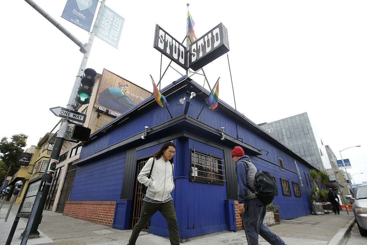 Pedestrians walking in front of The Stud bar in San Francisco on July 6, 2016. The city's oldest LGBTQ+ bar was one of several local venues forced to shutter during the pandemic. In response, Supervisor Matt Haney has introduced new legislation for a music and entertainment venue recovery fund that would buoy the city's remaining historic nightlife institutions.