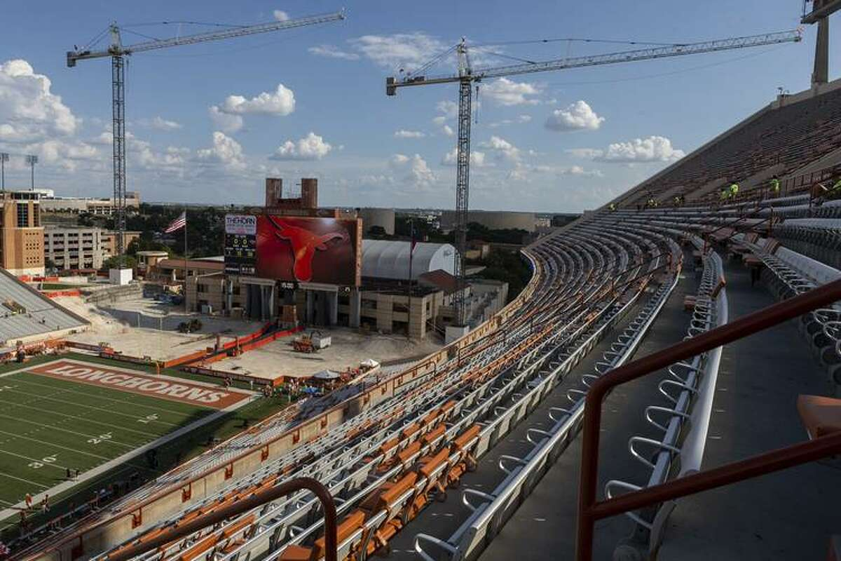 A few of the south end zone at Memorial Stadium in Austin before the season as construction began.