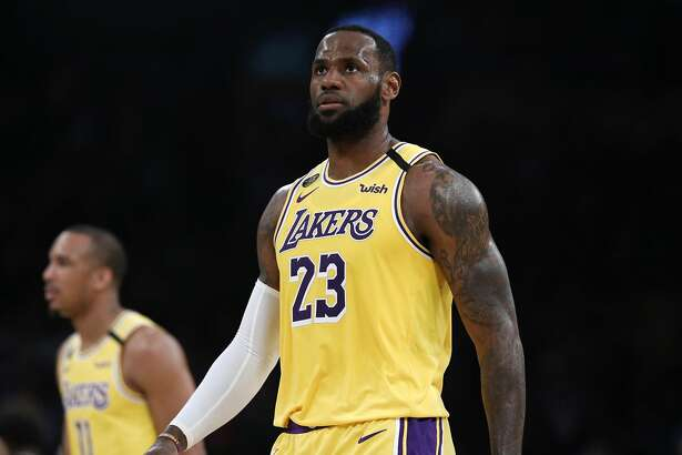 Los Angeles Lakers forward LeBron James (23) in a game against the Milwaukee Bucks in the first half at the Staples Center on March 6, 2020 in Los Angeles. James is leading the charge for the current NBA season to restart once all the details get worked out. (Gary Coronado/Los Angeles Times/TNS)