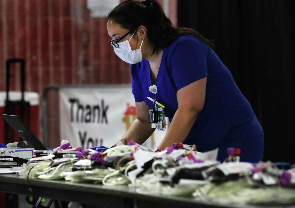 Blood supplies continue to be critically short in Bexar County because of the coronavirus pandemic. Thalia Menchaca verified information on units of blood during the South Texas Blood and Tissue Center drive at the Alamodome in May.