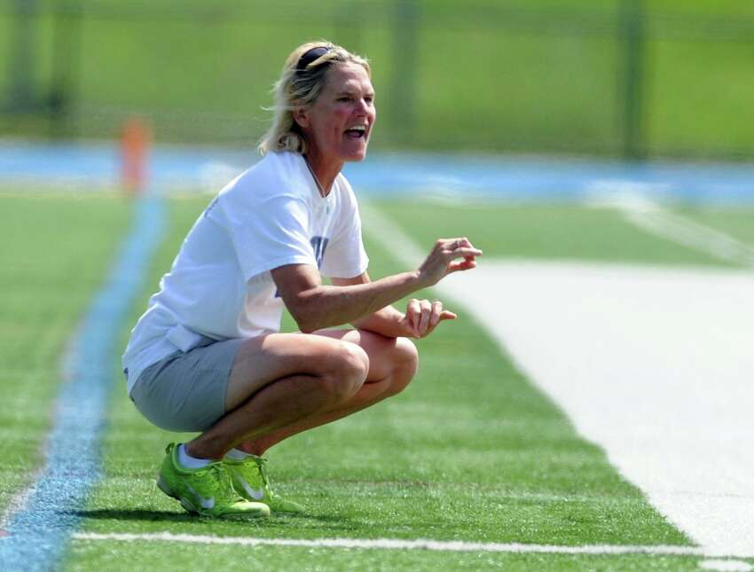 Darien head coach Lisa Lindley during the Class L girls lacrosse championship against Wilton Saturday, June, 13, 2015, at Bunnell High School in Stratford, Conn.