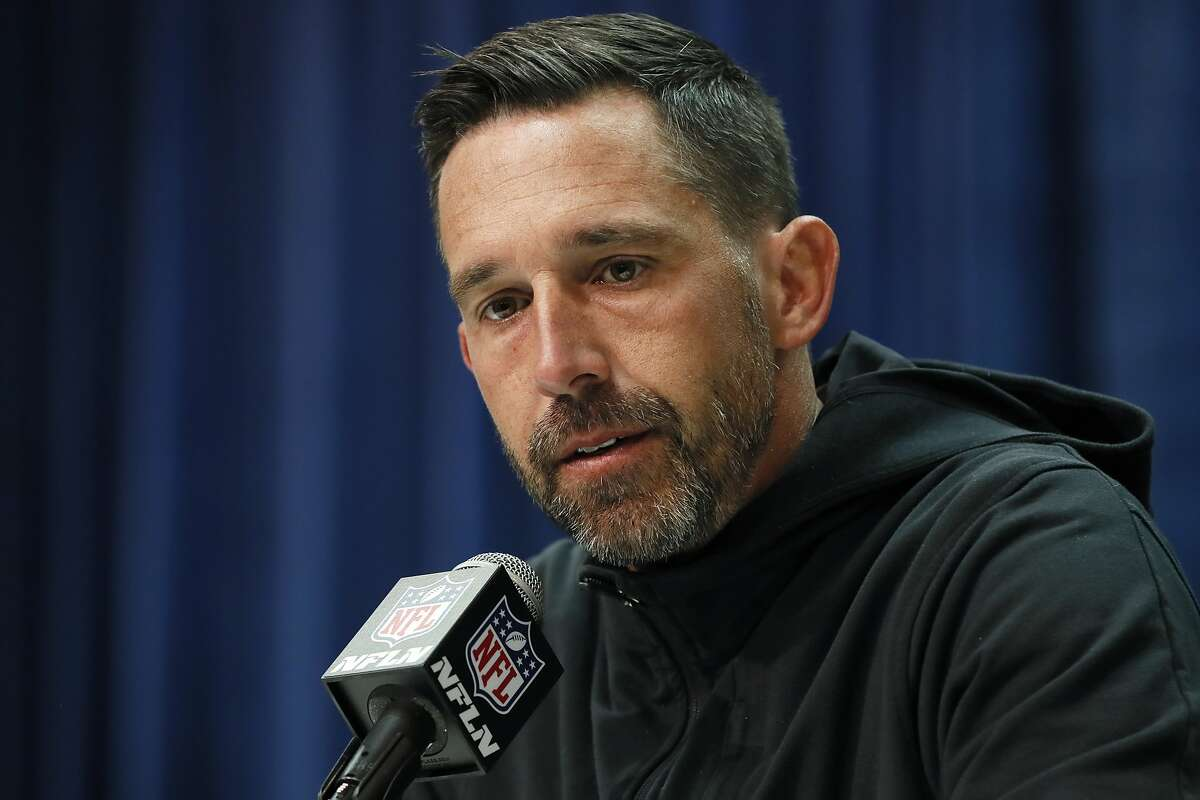 FILE - In this Feb. 25, 2020, file photo, San Francisco 49ers head coach Kyle Shanahan speaks during a press conference at the NFL football scouting combine in Indianapolis. The NFL Draft is April 23-25. (AP Photo/Charlie Neibergall, File)