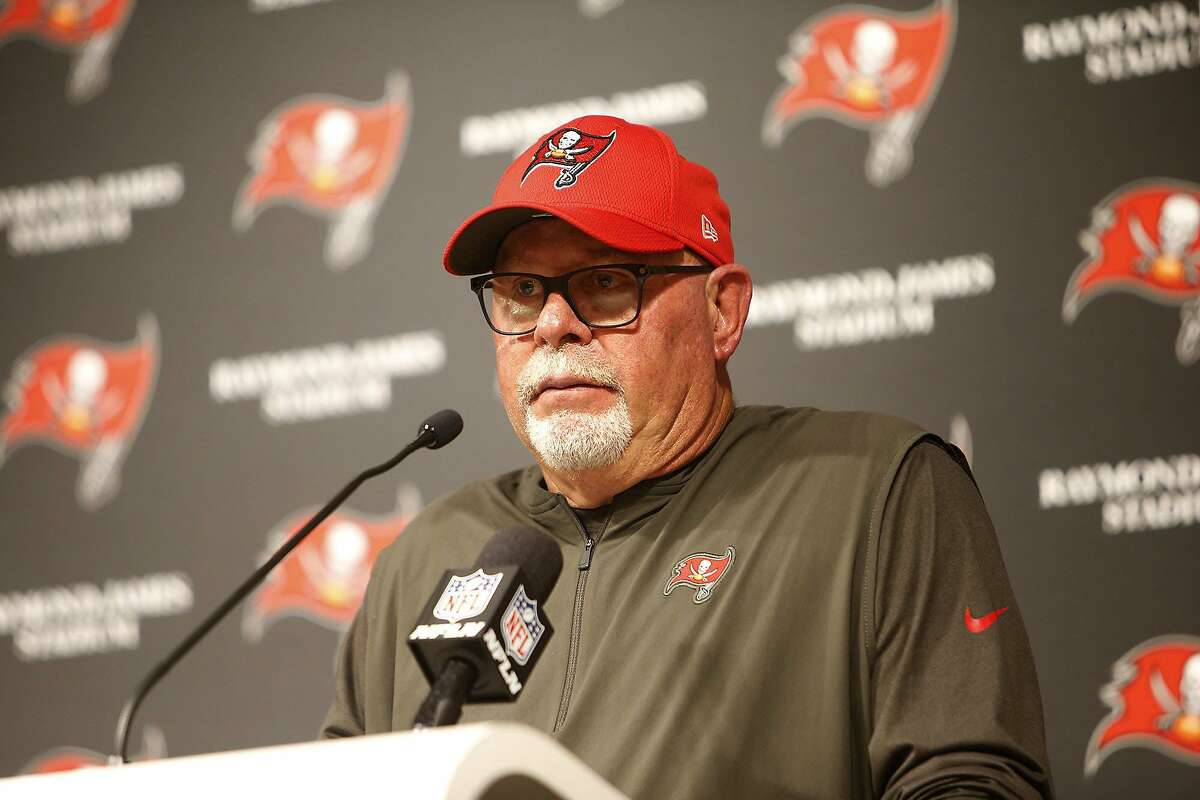 Tampa Bay Buccaneers head coach Bruce Arians takes questions during a news conference on December 29, 2019, at Raymond James Stadium in Tampa, Fla. (Octavio Jones/Tampa Bay Times/TNS)