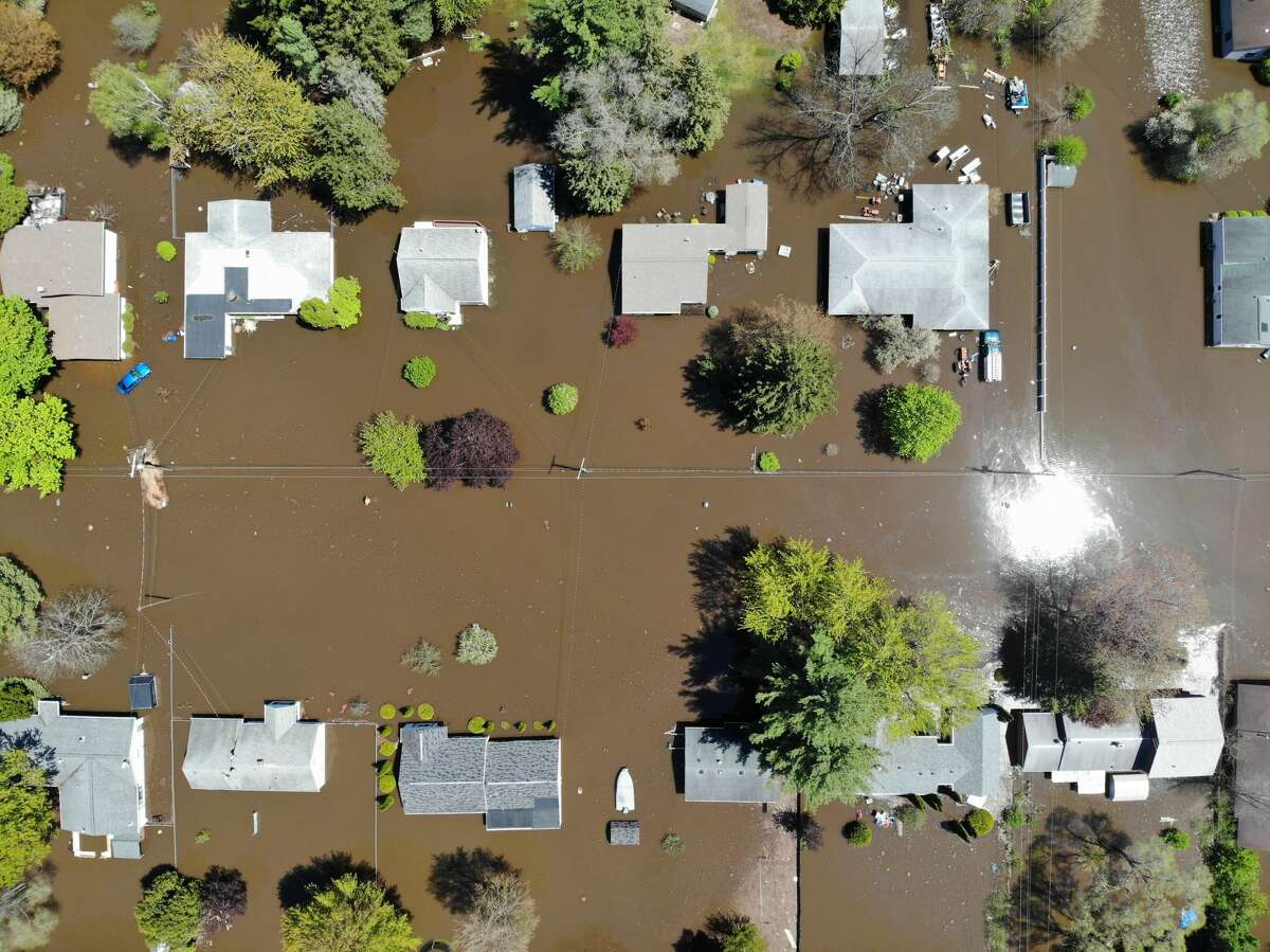 Flooding in Midland is seen from a drone around 2 p.m. Wednesday, May 20, 2020. (Ben Tierney/for the Daily News)
