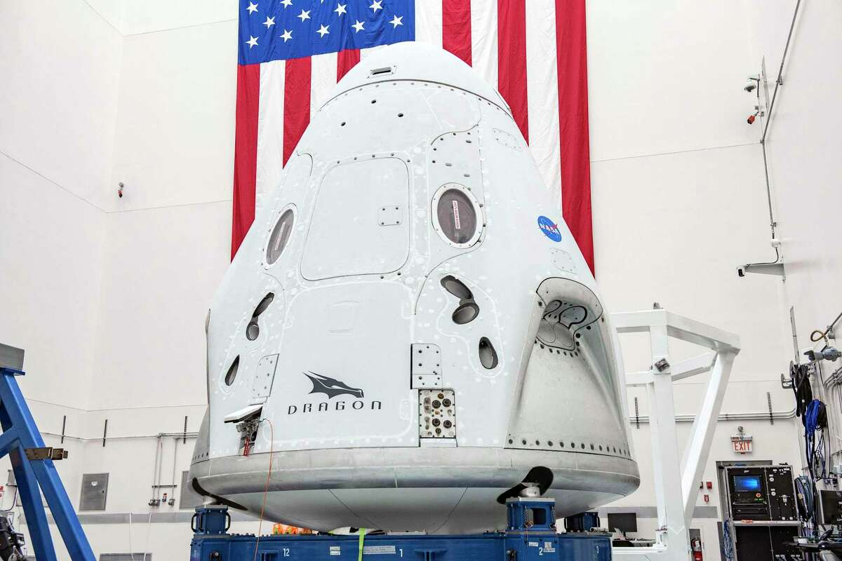 Barring bad weather or technical glitches, the Falcon 9 rocket will launch from Launch Complex 39A at NASA's Kennedy Space Center in Florida. Pictured above: The SpaceX Crew Dragon spacecraft undergoes final processing at Cape Canaveral Air Force Station, Florida, in preparation for the Demo-2 launch with NASA astronauts Bob Behnken and Doug Hurley to the International Space Station for NASA's Commercial Crew Program.