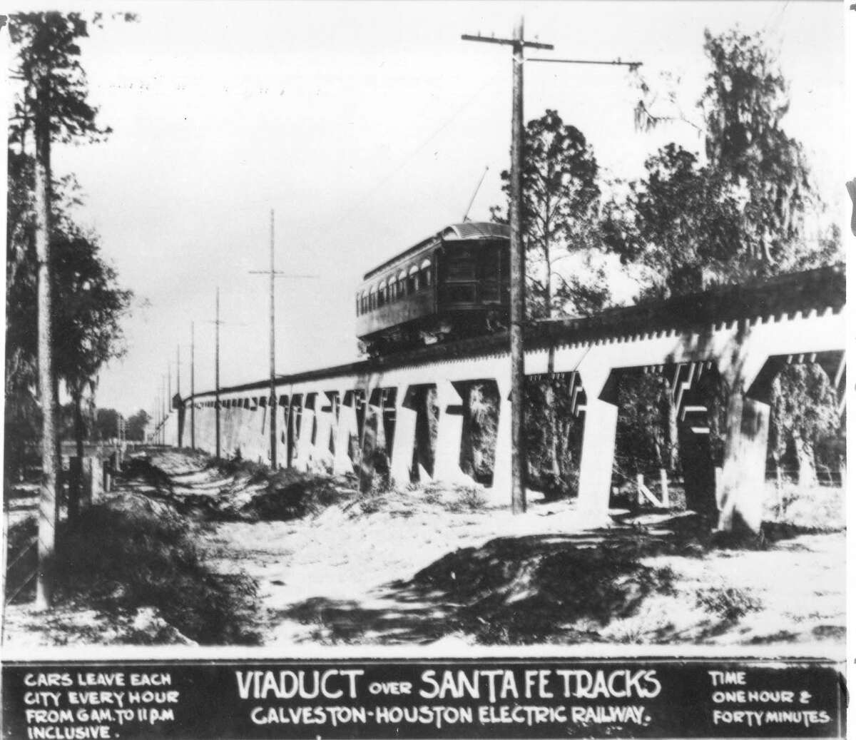 This interurban viaduct over the Sante Fe tracks is constructed entirely of concrete reinforced with steel, the latest technology when it was built in 1911.